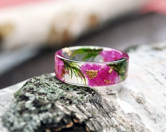 nature rings nature inspired rings resin ring flower resin ring bohemian ring eco resin ring flower ring terrarium ring engagement ring