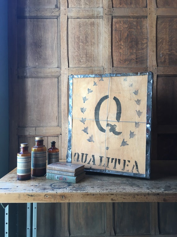 Vintage Tea Crate, Large Qualitea Wood Tea Shipping Box, Tea Party Kitchen Decor