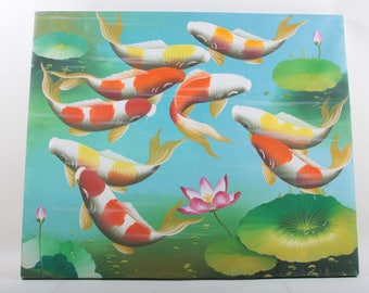 Original Oil Painting, Koi Fish Pond, Painting, Vintage, Artwork, Canvas, Bright colors, Underwater, Red, Yellow, Blue, Green, Lillie~170213