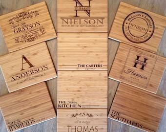 Personalized Cutting Board 6x8 (Single Tone) Bamboo - 10 Designs!