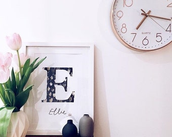 Personalised Initial name letter print