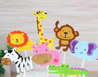 7Pcs Jungle Fun Cupcake Cake Baby Shower Birthday Party Decoration