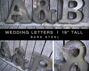 Bare Steel Wedding Initials - set of 3