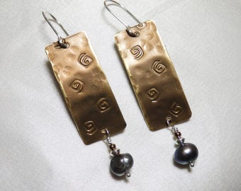 Brass Rectangle Earrings with Spirals and Freshwater Pearls