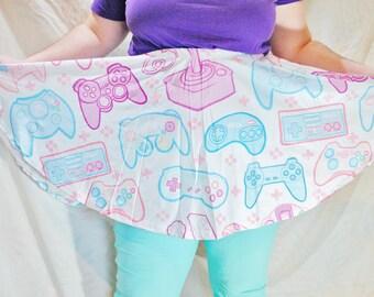 Pastel Game Controller Skater Skirt