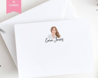 Personalized Stationery Cards with Portrait - Unique Bridesmaid Gift Idea - Personalized Gift for Bridesmaid - Customized Stationery