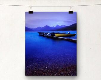 Twilight Photography, Lake MacDonald Photo Print, Montana USA