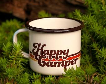 Émail Mug Happy Camper Camping Mug Enamelware Adventure Mug Camping Gear Camping cadeau cadeau plein air Camp café tasse rétro feu de camp