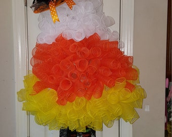 Halloween  Candy Corn Witch Wreath.