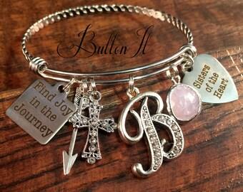 Best friend gift, Sisters of the heart, Find joy in the journey, BAPTISM gift, Christian jewelry, friendship bracelet, Bangle charm bracelet