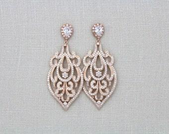 Rose Gold Earrings, Bridal earrings, Bridal jewelry, Rose Gold chandelier earrings, Crystal Art Deco Earrings, Statement earrings, AMELIA