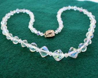 Vintage Crystal Rainbow Necklace Bicone AB Crystal Necklace Vintage Wedding Prom Formal