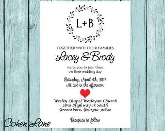 Rustic Wedding Invitation - Wedding Invite - Rustic Invitation - Rustic Wedding Invite - Wedding Invitation - Printable Wedding Invitation