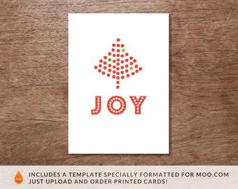 Printable Christmas Card - Instant Download Christmas Card - PDF Christmas Card - Print at Home Christmas Card - Red Dot Tree - Joy Card