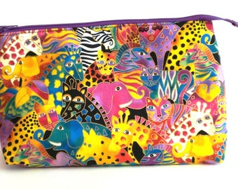 LAUREL BURCH Mythical Jungle 100% cotton fabric Cosmetic Bag, gift bag with full width opening and nylon zipper closure