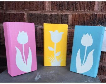 Spring Tulip Wood Blocks- Set of 3