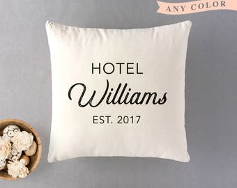 Personalized pillow, Hotel surname cushion, 100% natural cotton cushion, neutral decor,  French country, wedding gift, housewarming gift