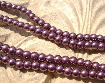 Pearlescent Glass Pearl Pearls Beads Plum Purple 8mm Round LARGE 30mm Strand