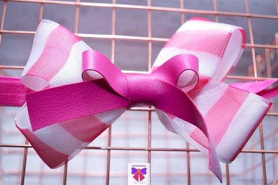 Fuchsia pink and white stripe grosgrain sheer leather Bow- Baby / Toddler / Girls / Kids Headband / Hairband / Hair bow / Barette / Hairclip