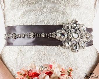 Bridal sash, rhinestones and pearl sash, crystal sash, wedding sash, jeweled sash belt