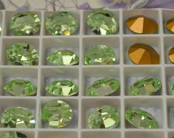6 Swarovski 10x8 Oval Rhinestones Chrysolite Light Green DIY Crystal Clay  Bracelet dangles art 4100 First Quality Austrian Crystal