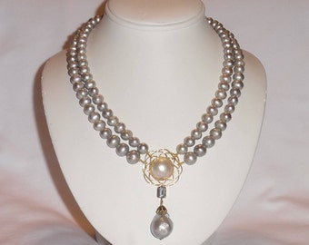 """8mm Creamy Gray China CULTURED Pearls, Mother of Pearl, Sky Blue Topaz, 14kt yellow gold 18"""" Necklace"""