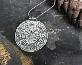 Upcycled Ornate Wheel of Life Silver Pendant  Necklace Sterling Silver Chain Vintage  Charm Boho Jewellery Ready to Ship