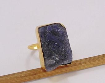 Real Stone Ring - Tanzanite Ring - Raw Stone Ring - Metalsmith Rings - Brass Gemstone Ring - Gold Fashion Ring - Minimalist Gold Ring