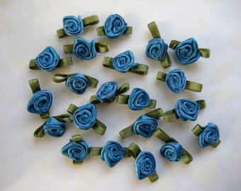 20 mm Sadden Blue Satin Ribbon Rose Flower with Green leaves Appliqués for Crafting, Sewing, Doll Clothes, Embellishment - 3/4 inch, 30 pcs