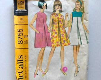 Vintage Sewing Pattern Women's 60's Mostly Uncut, McCall's 8755, Dress, Three Versions (S)
