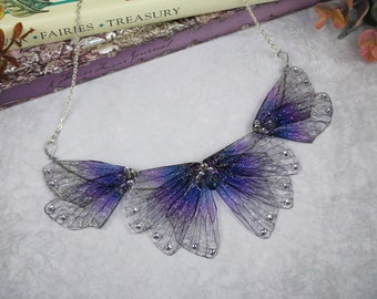 Enchanting Purple and Blue Fairy Wing/Butterfly/Cicada Statement Collar Necklace