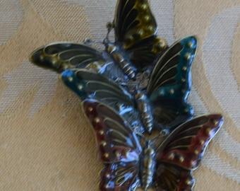 Black, Teal, Rust Butterfly Brooch, Enamel, Vintage (AL6)