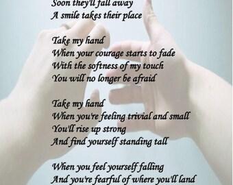 "Poetry print, digital download, ""Take my Hand"", inspirational poem"