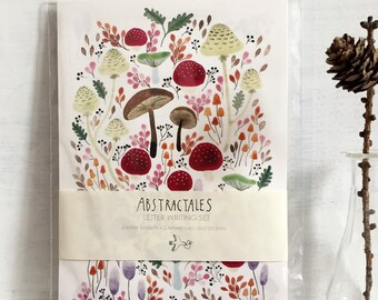 Letter set, letter writing set, with watercolour illustration of mushrooms, fungi, botanical of autumn colours,レターセット,イラスト,便箋