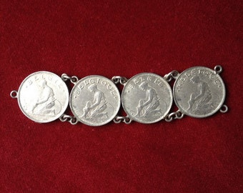 Belgian coin silver link chain connector grec lady 50 cent