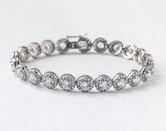 Bridal Jewelry Silver Tennis Bracelet Round Tennis Bracelet Wedding Accessories Bridal Bracelet Crystal Bracelet Silver Bridal Jewelry B238S