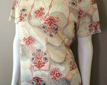 Vintage Women's 70's Blouse, Cream, Top, Short Sleeve, Floral by Jimmy Jin (M)