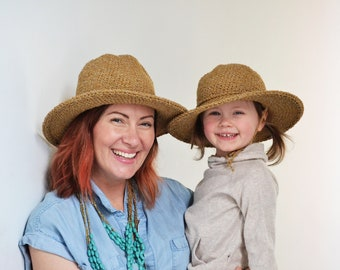 Matching Mother Daughter Hat Set, Beach Hats for Kids, Summer Sun Hats, Hats for Women, Adjustable Travel Hats, Mothers Day Gifts