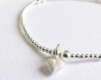 Sterling Silver Tiny Frosted Heart Beaded Bracelet - Heart Charm Bracelet, Silver Bracelet, Stretch Bracelet, Stacking Bracelet, Love Heart