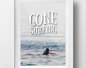 Gone Surfing Sign, Surfing Sign, Surfing Decor, Beach Decor, Surfer Sign, Beach Sign, Coastal Sign, Nautical Art, Surfer Art, Beach Art, Art
