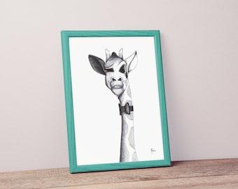 Black and White Giraffe illustration poster
