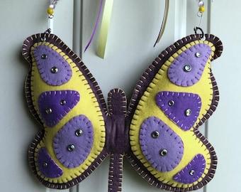 Wool Felt Butterfly Door Hanger In Grape and Yellow