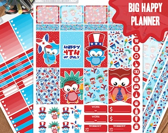 4th of July Planner Stickers Printable, Big Happy Planner Stickers, Weekly Planner Kit, Planner Stickers, Big MAMBI Planner Stickers