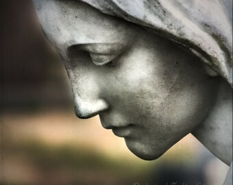 Angel of Mercy Cemetery Angel Statue Mourning In Memoriam Fine Art Photography on Giclee Gallery Wrap Canvas