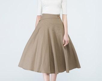camel skirt women, knee length skirt, fitted skirt, swing skirt, summer skirt, elegant skirt, ladies skirt, skirt with pockets, gift 1692