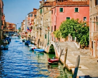 Italy photography - Walk with Me - Venice - Fine art travel photography - pink house on the canal - pink, blues, green, ivory