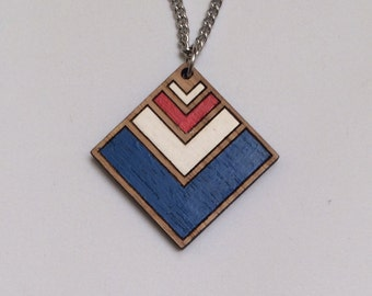 Wood laser cut pendant necklace - chevron, navy blue, red and white - diamond