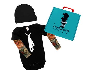 ROCKSTAR BABY KIT Skull Tie onesie with tattoo sleeves, hat andoptional  gift box