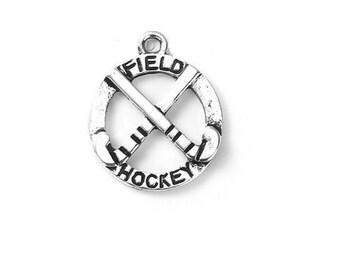 charm sport field hockey silver antique engraved (B08)