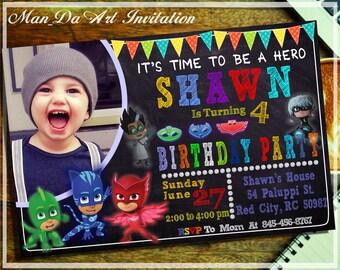 Pj Masks Invitation.Pj Masks Printable.Pj Masks Birthday Invitation.Pj Masks Party.Pj Masks Birthday Card.Pj Masks Chalkboard.Pj Masks-101